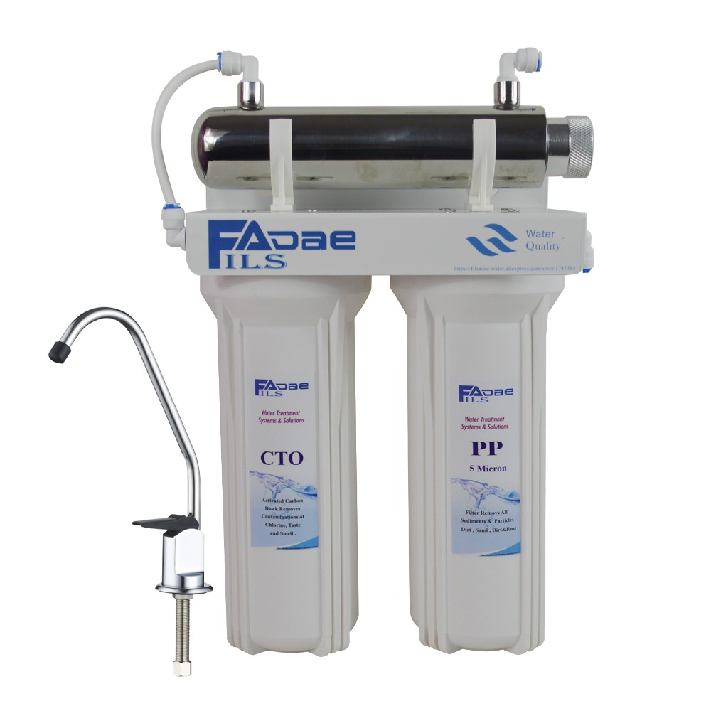 Three Stage Under-Sink Drinking Water Filtration System with 6W Ultraviolet sterilizer  ,Europe two pin plug,Power 200 - 240 V