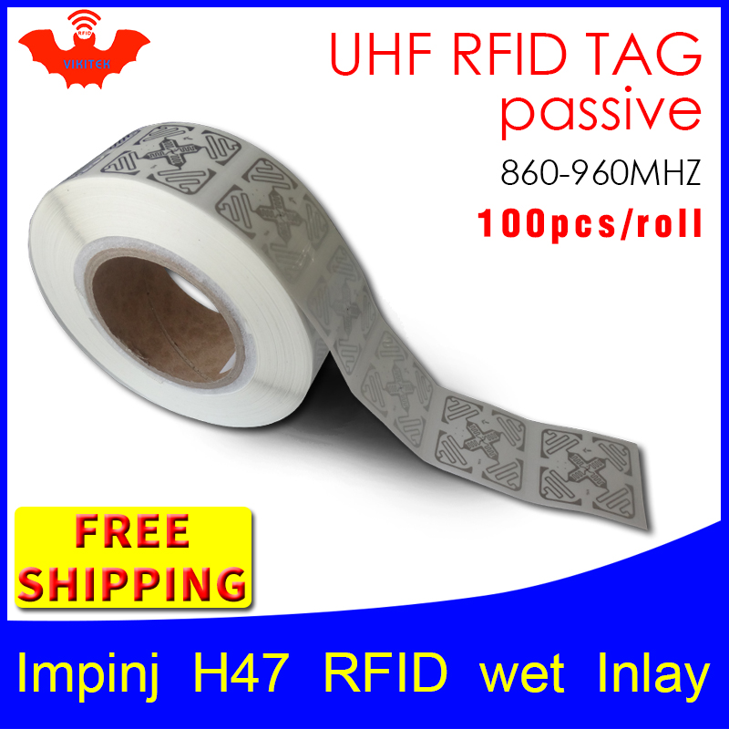 UHF RFID tag EPC 6C sticker Impinj H47 wet inlay 915mhz868mhz860 960MHZ Higgs3 100pcs free shipping adhesive passive RFID label