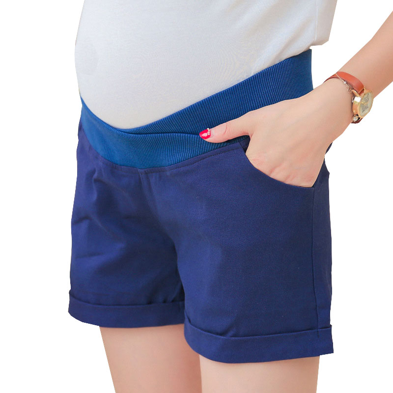 Low Waist Maternity Shorts For Pregnant Women Clothes Cotton Pregnancy Shorts Thin Summer Maternity Cuffed Shorts Capris