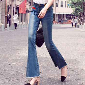 Free Shipping 2019 New Fashion Stretch Long Jeans Pants For Women Flare Trousers Plus Size 24-32 Size Denim Summer Tassels Jeans цена 2017