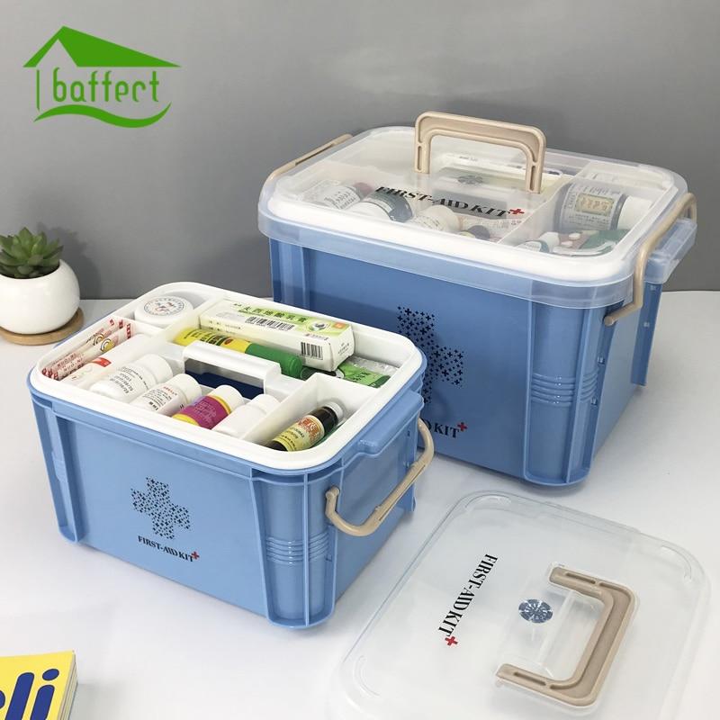 Neueste Medizin-box Apotheke Box Kunststoffbehälter Notfall-set Portable mehrschichtigen Großer Kapazität Speicherorganisator