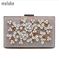 Meloke 2019 high quality metal flowers evening bags with chain luxury pearl dinner bags Cherry blossoms banquet bags mn1013