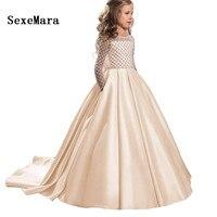 Champagne Formal Floor Length Flower Girl Dress Girl Clothing Princess Birthday Long Sleeve Ball Gown Kids Dresses Custom Made