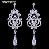 2016 Top CZ Stones White K Plated Bridal Jewelry Chandelier Wedding Accessories Long Drop Earrings For