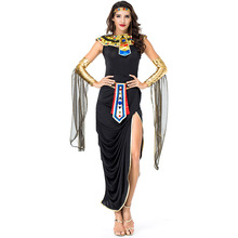 Umorden Adult Egyptian Queen Sexy Cleopatra Costume Black Wrap Dress Fancy Halloween Purim Party Costumes