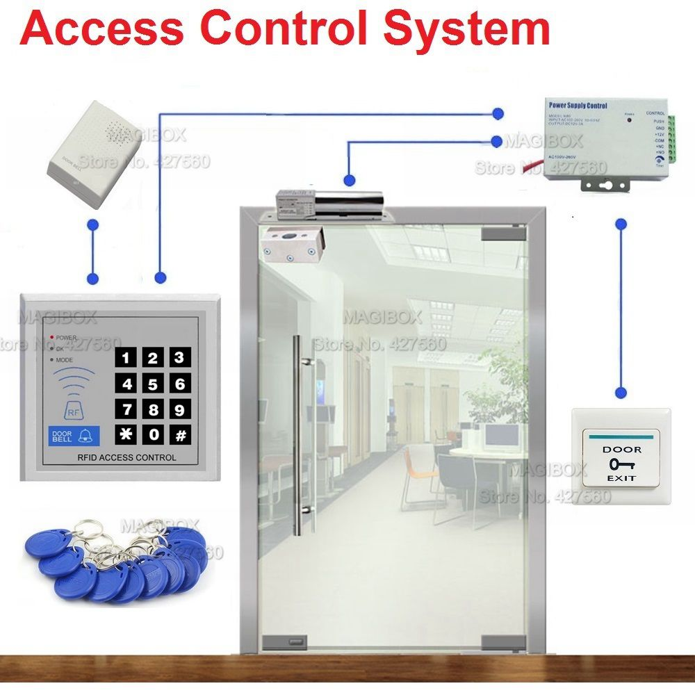 ID/EM Access Control System for Frameless Glass Door Card Reader & Keypad Electric Bolt Lock+Power Supply+Door Bell+Switch raykube glass door access control kit electric bolt lock touch metal rfid reader access control keypad frameless glass door