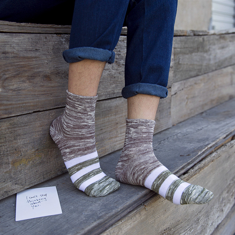 Hot Selling Autumn Winter Stripe Cotton   Socks   Casual Calcetines Hombre   Sock   Business Male   Socks   Women British Style Retro   socks