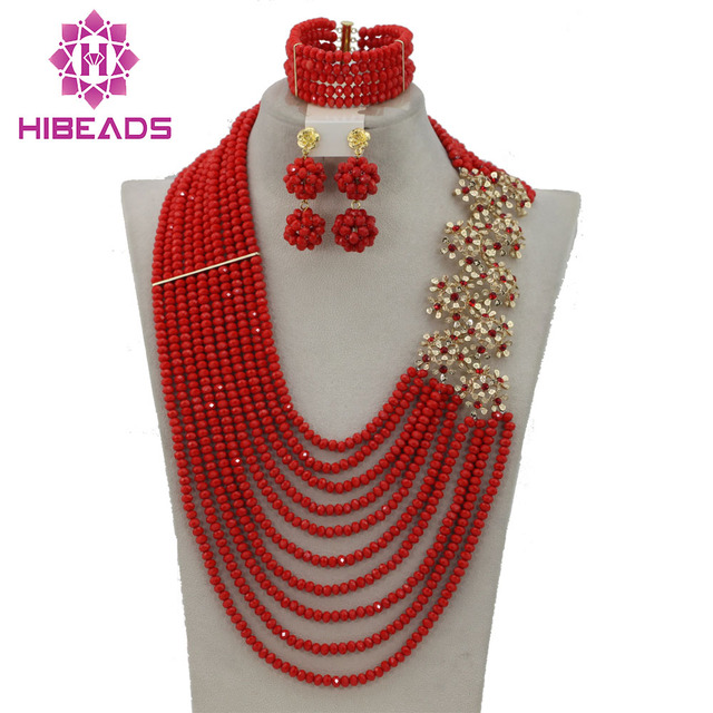 Amazing Bright Red Wedding Nigerian Beads Jewelry Set 2017 New Design Costume Jewelry Set Free Shipping GS411