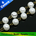 8mm Handmade Glass Pearl DIY Jewelry Findings Component Chains Bulk Strands Glass Pearl Beads Iron Eyepins Antique Bronze 1mx8mm