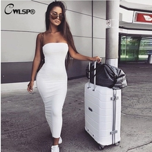 CWLSP 2019 Summer Skinny Dress Sexy Strapless Long Backless Package Hip  Sleeveless 6 Color Vestidos QZ2941