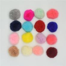 16pcs DIY Large 8cm Rabbit Fur pompons Ball for Hangbag Hat Clothing Charm DIY