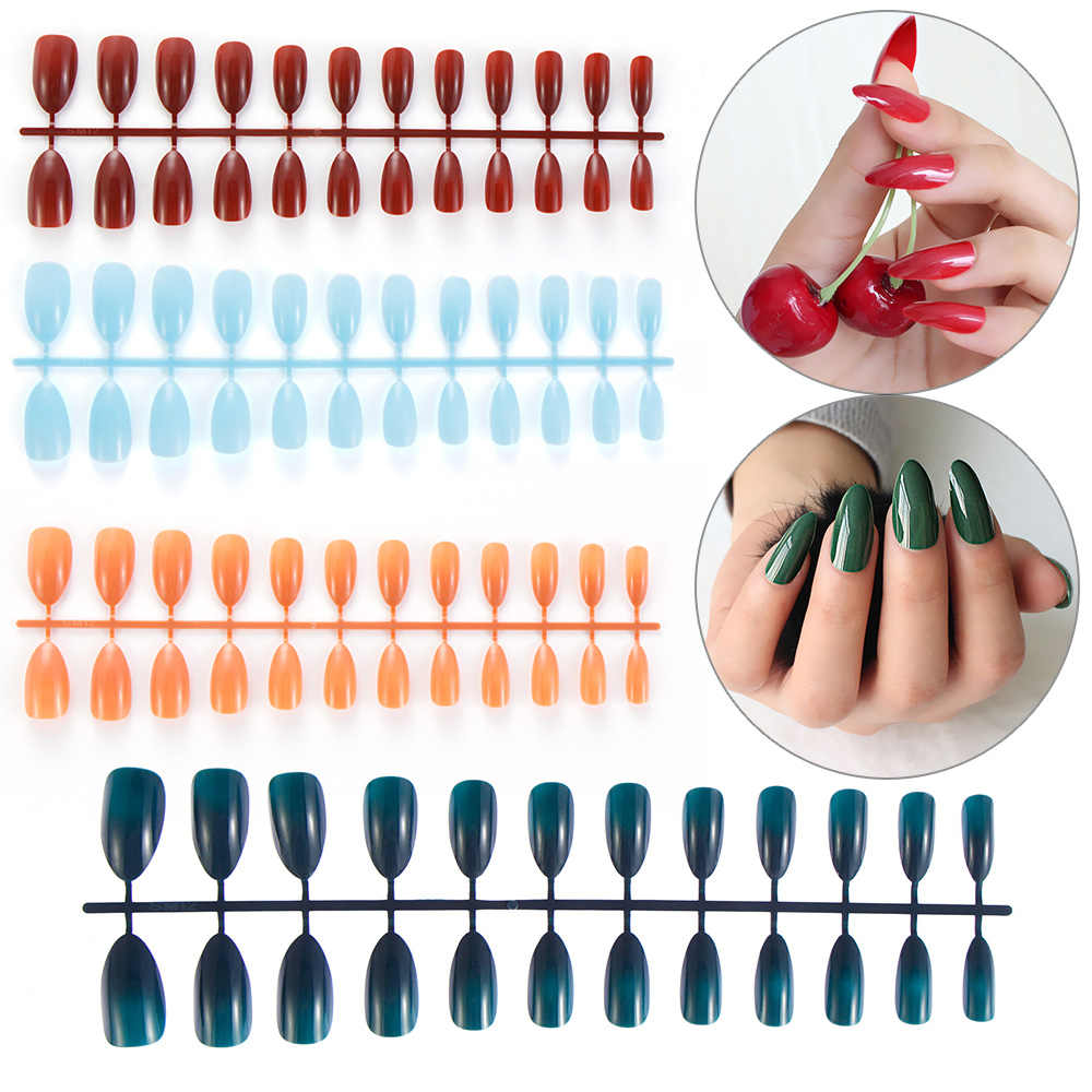 24 PCS DIY Stiletto Fake Nails 28 Styles Long Size Pointed Solid Color Nail Art Press On Full False Nails Nails Tips Accessory