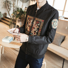 New Embroidery Bomber Jacket Men Fashion Chinese Long Pao Casual Jacke