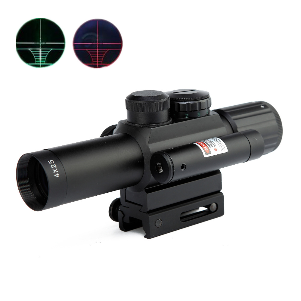 4X25 Hunting Riflescope Red/Green Dot Mil-Dot 11mm/20mm Mount Tactical Optics Rifle Red Dot Laser Airsoft Air Guns Sight Scope 4x30 hunting riflescope red green mil dot sight scope 11 20mm mount rail tactical rifle airsoft air guns rifle sight scopes