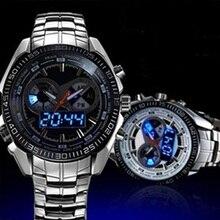 Мужчины Мода Из Нержавеющей Стали Ремешок Водонепроницаемый СВЕТОДИОДНЫЙ Цифровой Кварцевый Спортивные Наручные Часы