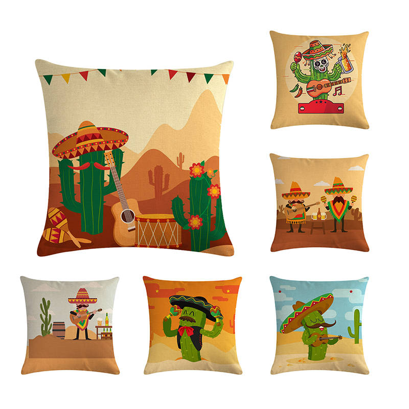 Mexican Style Pattern By Pillow Cover, Decorative Pillow Cover, Sofa Seat Cover, Pillow Cover 45 * 45cm, Home Decoration