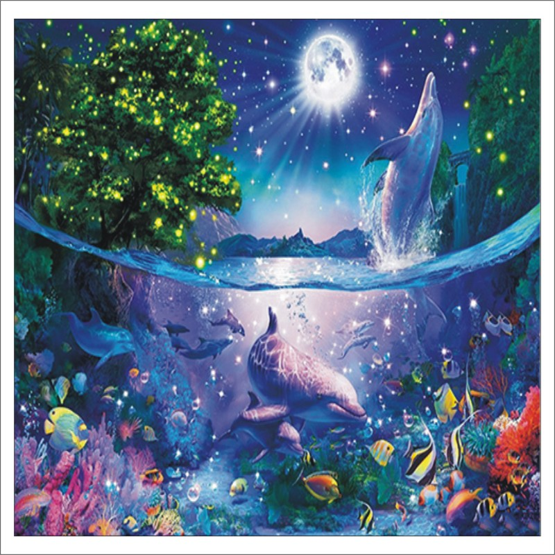 5D DIY Diamond Painting Dolphin Cross Stitch 3D Diamond Landscape Diamond Embroidery Rhinestone Christmas Gift T014