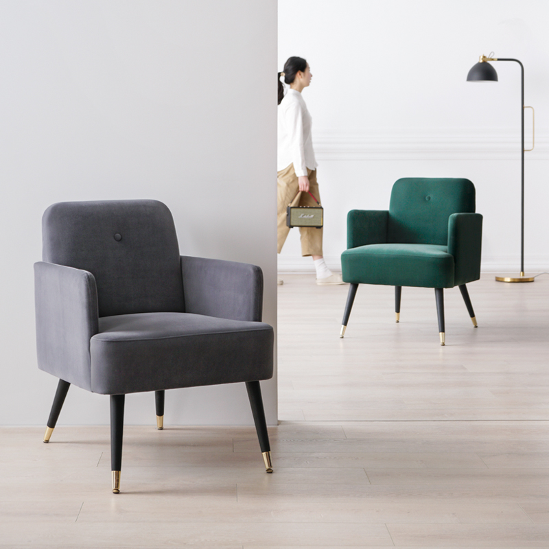 Nordic Single Sofa Simple Dining Chair Apartment Living Room Dark Green Velvet Fabric Bedroom Furniture Personality Lazy Chair