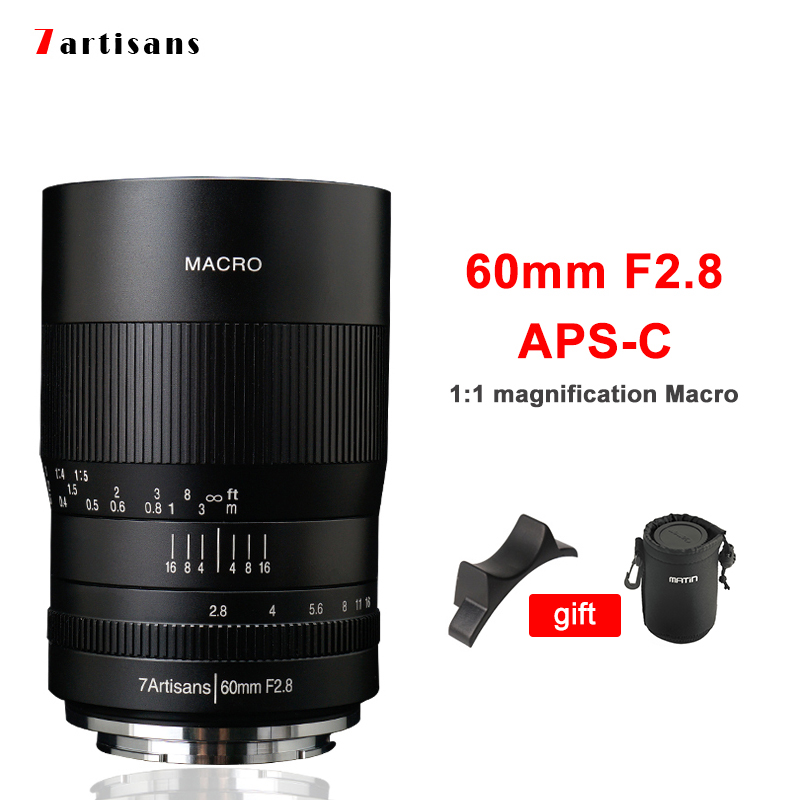 7artisans 60mm F2.8 Macro Lens APS-C For SONY Fujifilm Olympus M43 Mirrorless Camera For Canon EOS R EOS M50 Nikon Z6 Z7