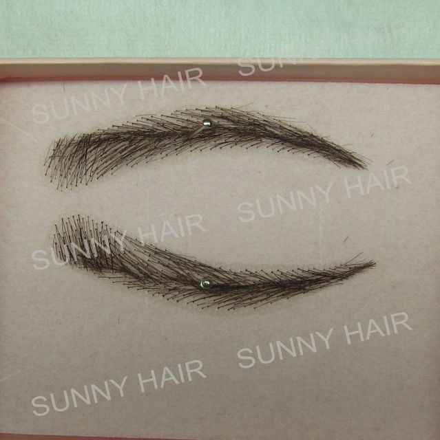 EB015 invisible swiss lace relastic hand made human hair false eyebrow DARK brown color 1