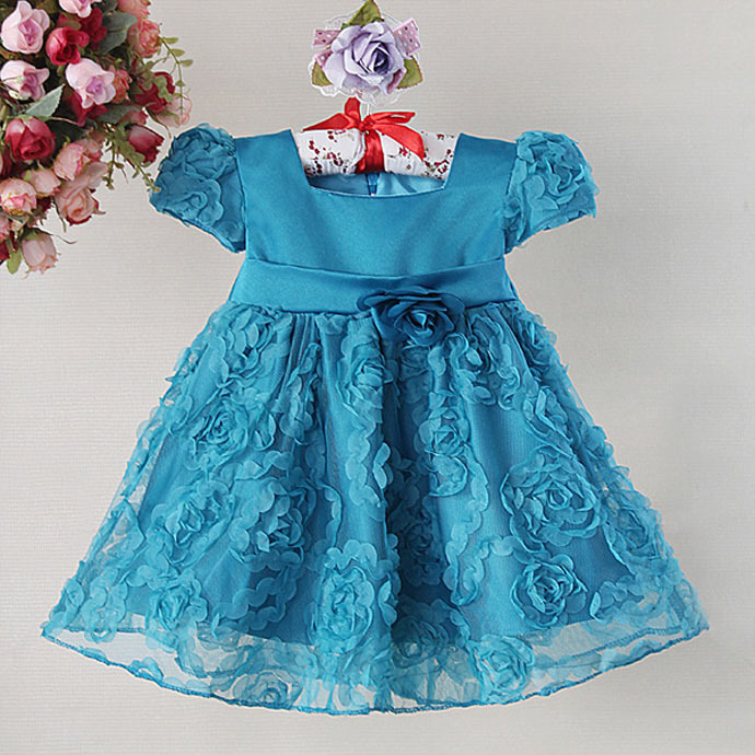 baby girls dress children costumes toddler clothing kid clothes short sleeve lace blue pink frock birthday bebe menina robe nina