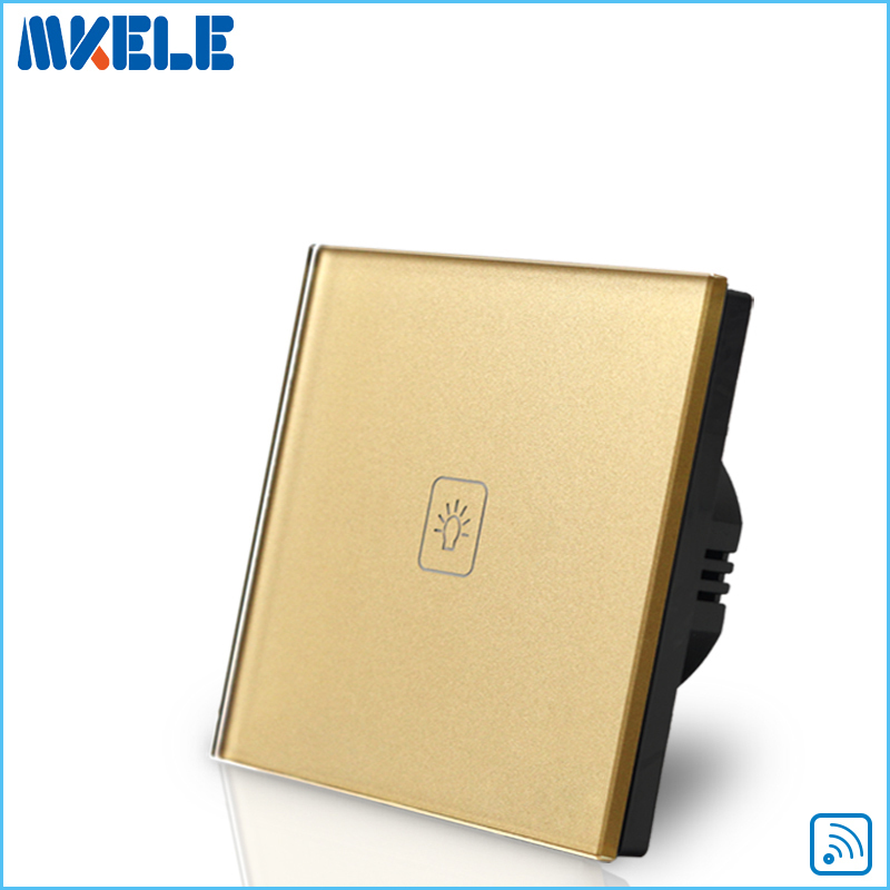Wall Light Remote Control Touch Switch EU Standard Gold Crystal Glass Panel LED 50HZ/60HZ Switches Electrical free shipping wall light remote control touch switch us standard gold crystal glass panel with led 50hz 60hz