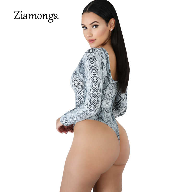 Ziamonga Мода принт змеиной кожи боди с длинными рукавами и круглым вырезом пикантные Облегающий комбинезон женский комби