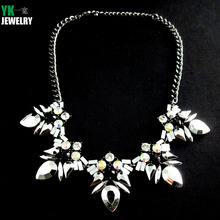 N2016062703 New Collares Flower teardrop Pendant Maxi Necklace Fashion Statement Necklace for Women