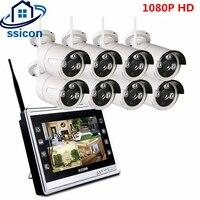SSICON Plug And Play 8CH CCTV Системы Беспроводной 12 дюймов ЖК дисплей Экран NVR 8 шт. 1080 P Наружная цилиндрическая WI FI IP Камера комплект видеонаблюдения