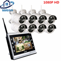 SSICON Stecker Und Spielen 8CH CCTV System Drahtlose 12 zoll LCD Screen NVR 8 stücke 1080 p Outdoor Kugel WIFI IP Kamera Überwachung Kit|plug and play|kit kitsnvr 1080p -