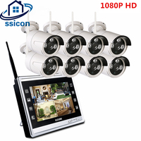 SSICON Plug And Play 8CH CCTV System Wireless 12 Inch LCD Screen NVR 8PCS 1080P Outdoor