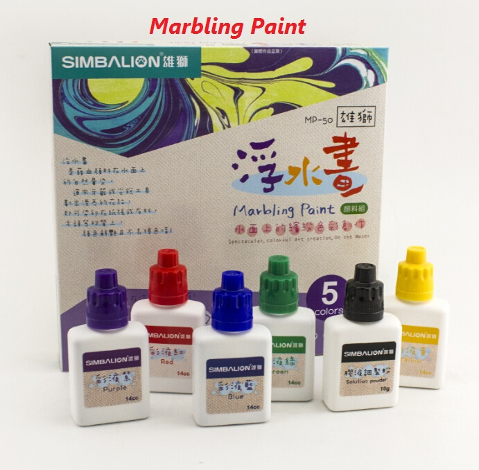 купить Free shipping Marbling Paint 5 Color Set 15cc each With Solution Ponder For DIY Fabric/Paper/Wood Pigment Art Supplies недорого