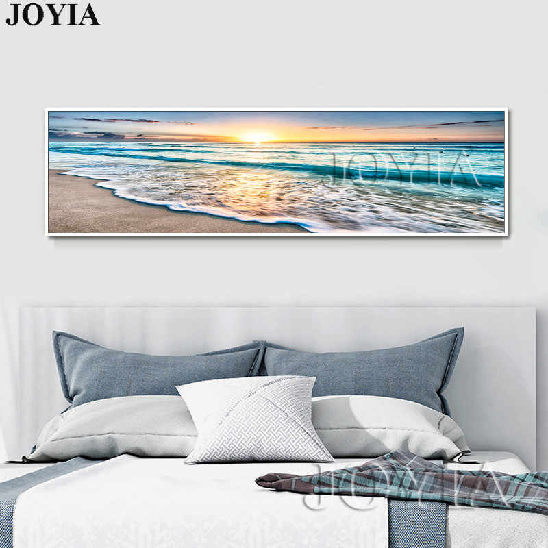 Large Rectangle Seascape Painting Picture Beach Waves Canvas Art Print Sunrise Over Sea Art Set Home Bedroom Wall Decoration