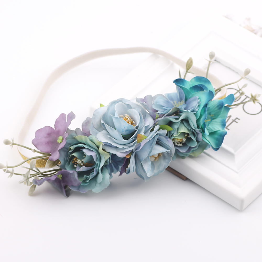 Hair Elastic Band Bridal Wedding Flower Headband Bohemian Artificial Floral Elastic Hairband Girl Garland Hair Kids Headbands