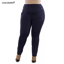 COCOEPPS 2018 Women Big Sizes Casual Pants trousers Solid Large Size Pants Autumn Slim trousers Plus Sizes Femme Pants 5XL 6XL