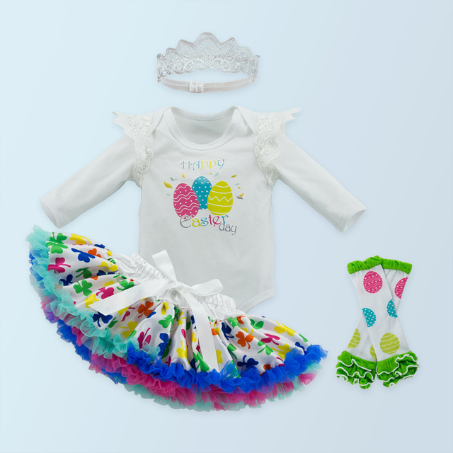 New Baby Girl Clothing Sets Infant Easter Lace Tutu Romper Dress Jumpersuit+Headband+Pettiskirt+Socks 4pcs Set Bebes Costumes