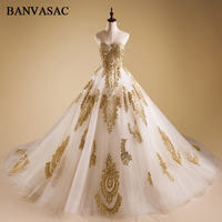BANVASAC 2018 Strapless Ball Gown Wedding Dresses Luxury Gold Lace Appliques Plus Size Embroidery Court Train Bridal Gowns