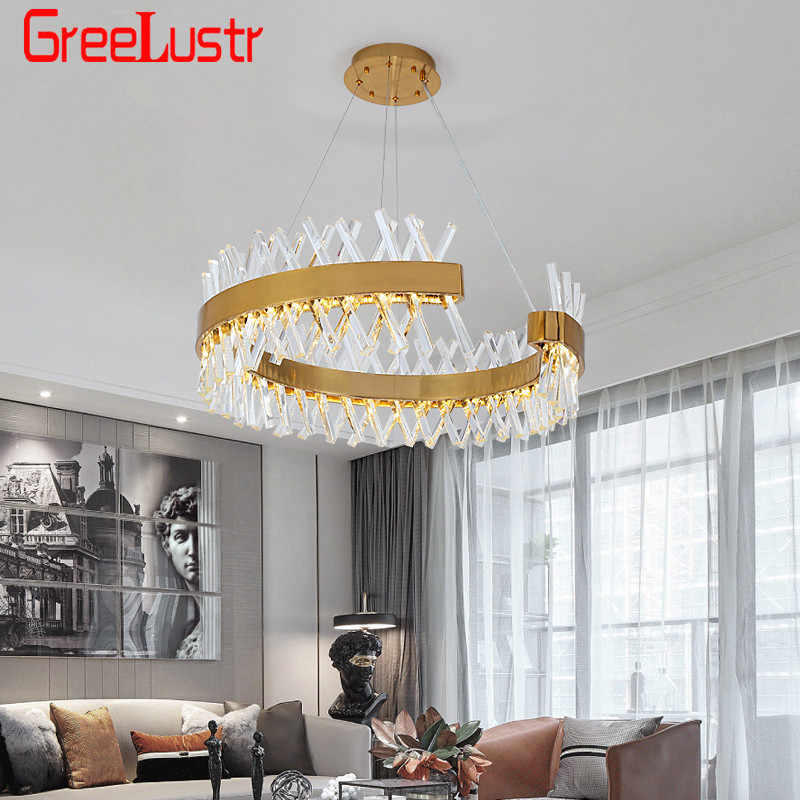 New Modern Crystal  Chandelier Lighting Gold Led Hanging Lamp Luxury Round Crystal Lamp Living Dining Room LED Crystal Lustres