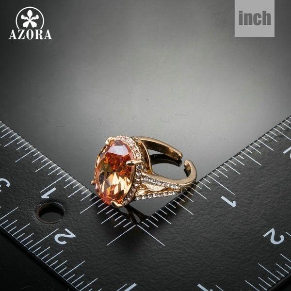 AZORA guldfarve stort ægformet kubisk zirconia rundt med - Mode smykker - Foto 3