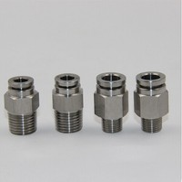 tube size 14mm 3/8 PT thread pneumatic stainless steel 316 male straight fitting