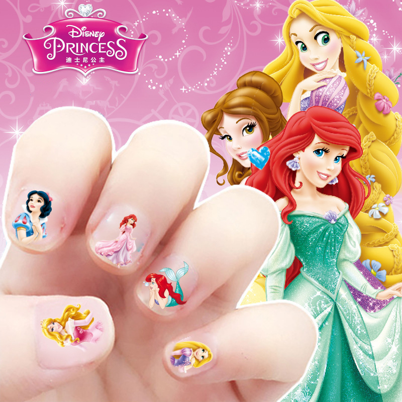 Disney kids makeup children cartoon princess nail sticker Princess girl nail sticker girl toys makeup for children small gift heart print nail sticker