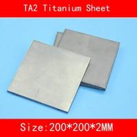200x200x2MM Pure Titanium Sheet UNS Gr1 TA2 Titanium Ti Plate Industry lab DIY Material standard ISO
