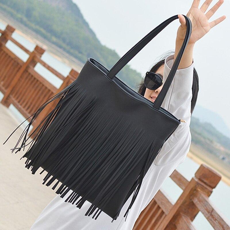 Beaocly Fashion Womens pu leather Tassel Shoulder Bag ladies Handbags girls fashion bags