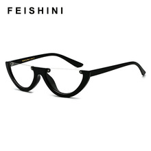 FEISHINI Unique Half Frame Glasses Women Cat Eye glasses Brand Designer Fashion High Quality Ladies Eyewear Transparent