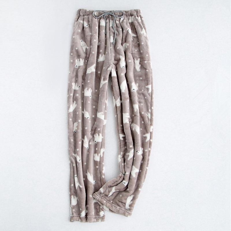 Autumn Winter Flannel Thicker Couple Pyjamas Bottom Print Women\\'S Trousers Pajama Pants For Women Pajama Trousers