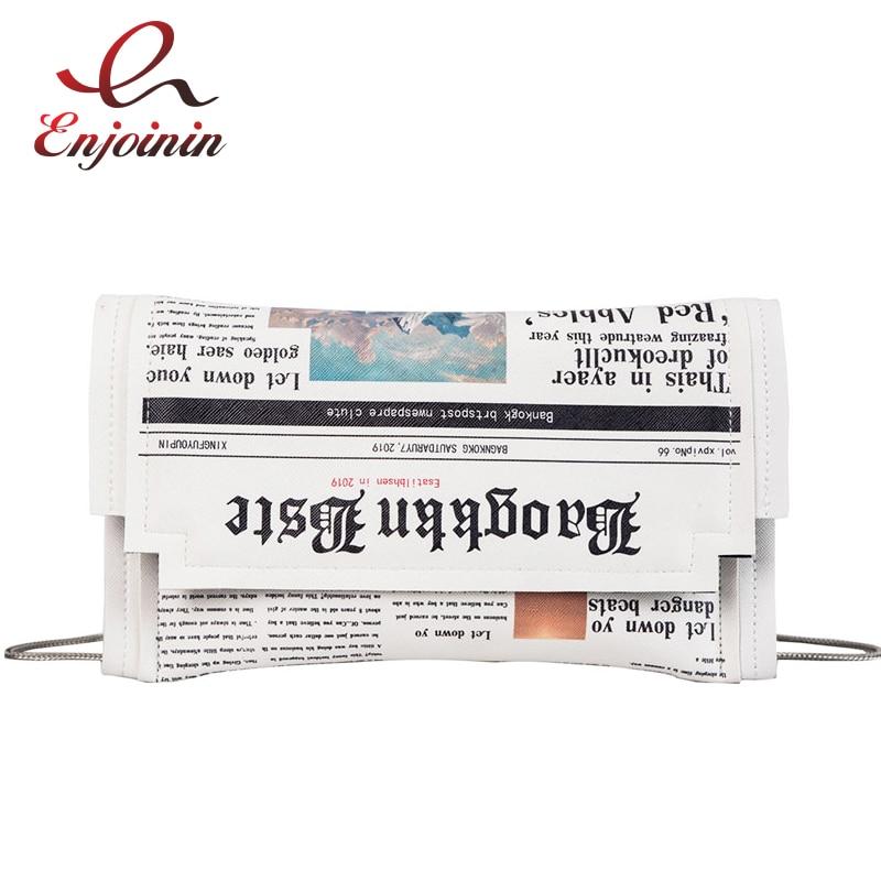 Fashion Newspaper Print Design Women Casual Envelope Bag Day Clutches Chain Purse Crossbody Messenger Bag Shoulder Bag Handbag