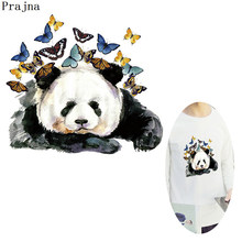 Prajna Panda With Butterfly Patch Iron On Hippie Cartoon Heat Transfers Cat Hot Vinyl Stickers Ironing Press Clothing(China)