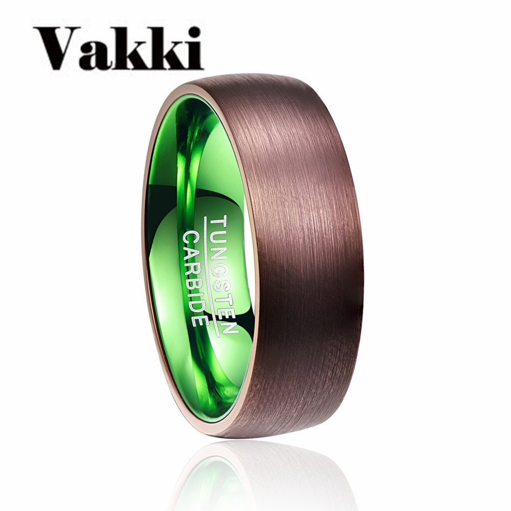 Valentines Day Deals Hot Sale Plated Brown Green Dome Tungsten Carbide Ring Fashion Retro Engagement Ring Jewelry For Man ...