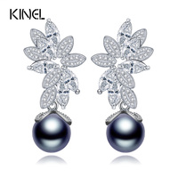 Luxury Gray Synthetic Pearl Drop Earrings With Micro Cubic Zirconia Elegant Blooming Flower Design Vintage Jewelry