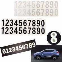 Mini número etiqueta reflexiva casa porta endereço de rua número de caixa de correio porta do carro decalque vinil reflexivo adesivo preto branco